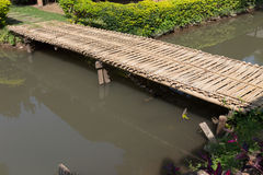 Wood bridge made from bamboo Stock Image