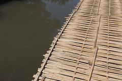 Wood bridge made from bamboo Royalty Free Stock Photo