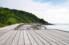 Wood bridge near the sea. At Laan island Thailand Royalty Free Stock Photography