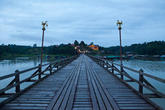 Wood bridge at night Royalty Free Stock Image