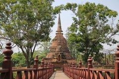Wood bridge. On old pagoda background stock image