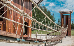 Wood bridge. At outdoor playground  with blue sky Royalty Free Stock Image