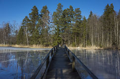 Wood Bridge Over Ice Lake Royalty Free Stock Images