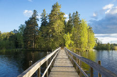 Free Wood Bridge Over Lake In Sweden At Autumn Stock Image - 84369151