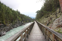 Wood bridge over the river. Near to Sjoa kayak camp. Royalty Free Stock Photos