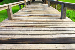 Wood bridge in park Royalty Free Stock Image