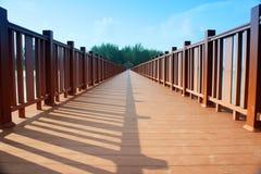 Wood bridge perspective Stock Photos