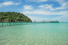 Wood bridge pier on sea with blue sky. Travel in Phuket Thailand Stock Images