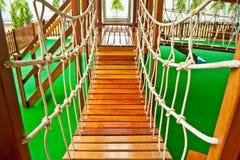 Wood bridge at playground Stock Image