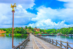 Wood bridge. Pompi's reservoir in Kanjanaburi Thailand Royalty Free Stock Photo