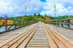Wood bridge. Pompi's reservoir in Kanjanaburi Thailand Royalty Free Stock Photos