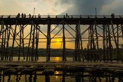 Wood bridge Sangkhlaburi Royalty Free Stock Images
