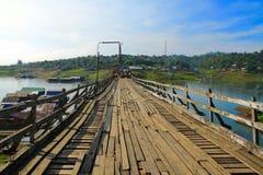 Wood bridge in Sangkhlaburi, Thail Stock Photography