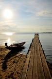 Wood bridge on sea. In Island Stock Photo