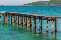 Wood bridge on Sea at Khao Laem Ya Stock Photography