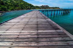 Wood bridge on Sea at Khao Laem Ya Stock Image