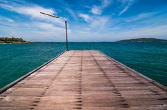Wood bridge on Sea at Khao Laem Ya Stock Images
