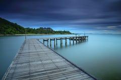 Wood bridge on the sea at Khao Laem Ya Stock Photos