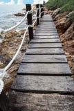 Wood bridge the sea. Stock Image