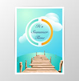 Wood bridge and sea with Summer vector Stock Image