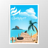 Wood bridge and sea with Summer vector Stock Photography