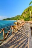 Wood bridge on the sea Stock Image