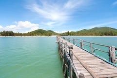 Wood bridge in the sea Royalty Free Stock Image