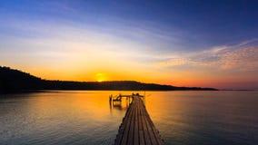 Wood bridge on sunset Royalty Free Stock Photo