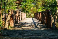 Wood bridge. In thailand royalty free stock photos