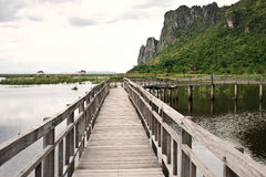Wood bridge in Thailand Royalty Free Stock Photo