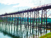 Wood bridge. Thailand's most famous wooden bridge Stock Photography