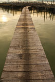 Wood Bridge To Fisherman House In Sea, Thailand Stock Image