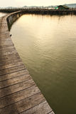 Wood bridge to fisherman house  in sea, Thailand Stock Images