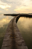 Wood bridge to fisherman house  in sea, Thailand Royalty Free Stock Photos