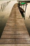 Wood bridge to fisherman house  in sea, Thailand Royalty Free Stock Photo