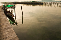Wood bridge to fisherman house  in sea, Thailand Stock Photos