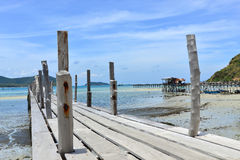 Wood bridge to the sea at samaesarn thailand Stock Photography