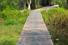 Wood bridge walkway along river Royalty Free Stock Photo