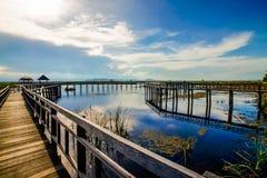 Wood bridge. Wooden bridge on the lake Royalty Free Stock Image