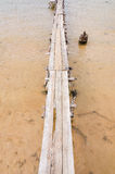Wood brigde water in the Reservoir Royalty Free Stock Photo