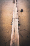 Wood brigde water in the Reservoir vintage Royalty Free Stock Photography