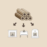 Wood brikett Arkivbilder