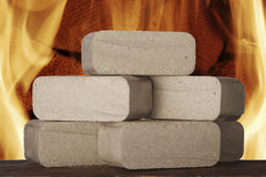 Wood briquettes Stock Images