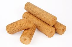 Wood briquettes isolated. Over white background Stock Photography