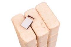 Wood briquettes isolated on white background.Firewood.Briquettes Royalty Free Stock Photo