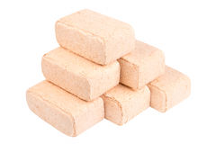 Wood briquettes isolated on white background.Firewood.Briquettes Stock Image