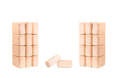 Wood briquettes isolated on white background.Firewood.Briquettes Stock Photography