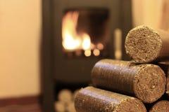 Wood briquettes Stock Photo
