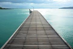 Wood bro över havet Royaltyfria Foton