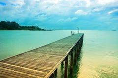Wood bro över havet, drömlik färg Royaltyfri Fotografi